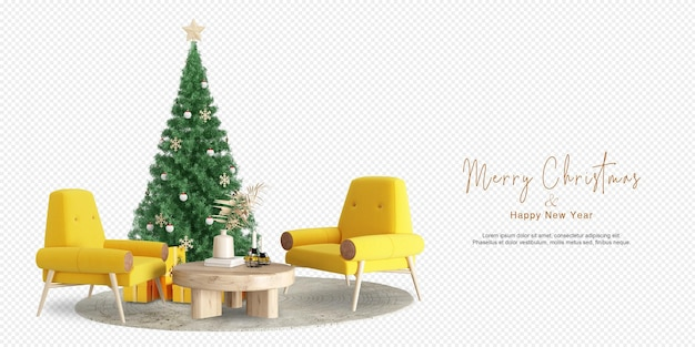 Living room interior with christmas tree and yellow armchairsand wooden furniture