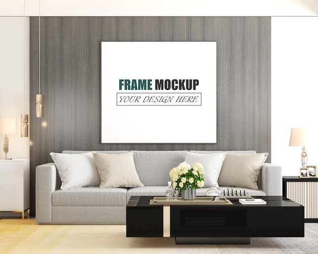 The living room is designed in a modern style frame mockup