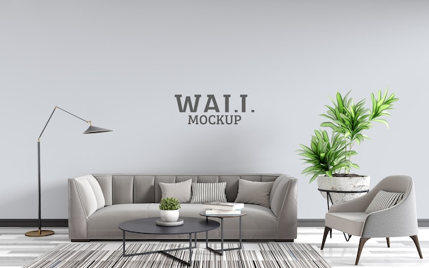 The living room is designed in a modern style wall mockup