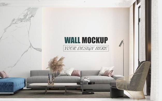 リビングルームは豪華でモダンなデザインの壁のモックアップです