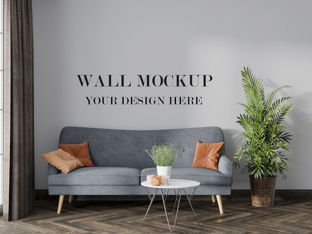 Living room mockup to change the wall surface