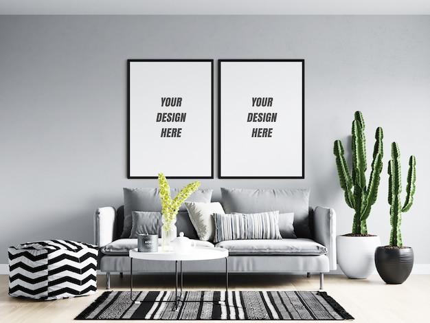 Living room poster frame & wall mockup