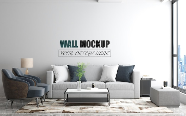 Living room space decorated with modern furniture wall mockup