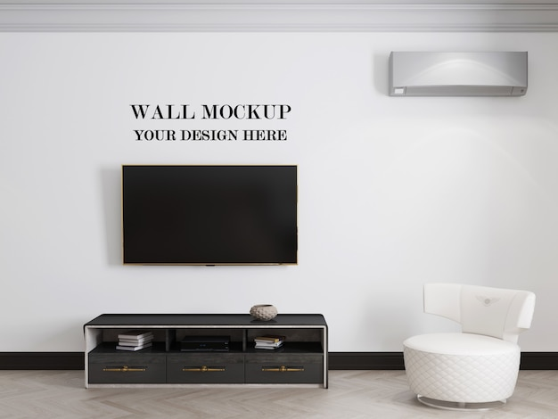 Living room wall background mockup with tv and cabinet