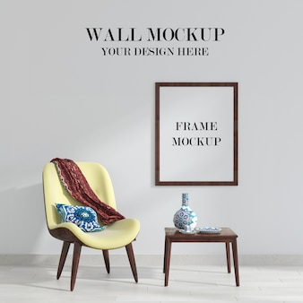 Living room wall and frame mockup