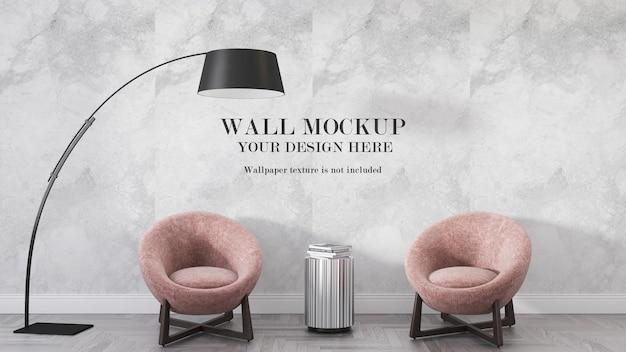Макет стены гостиной за двумя креслами и лампой