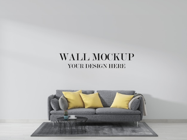 Living room wall mockup, interior decorated with grey sofa and yellow pillows