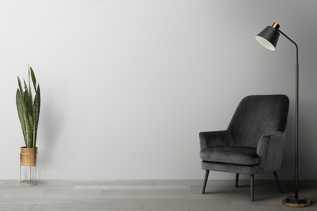 Living room wall mockup psd modern interior design