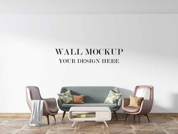 Living room wall mockup with beautiful furniture in interior
