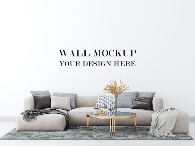 Living room wall mockup with large comfortable sofa 3d render