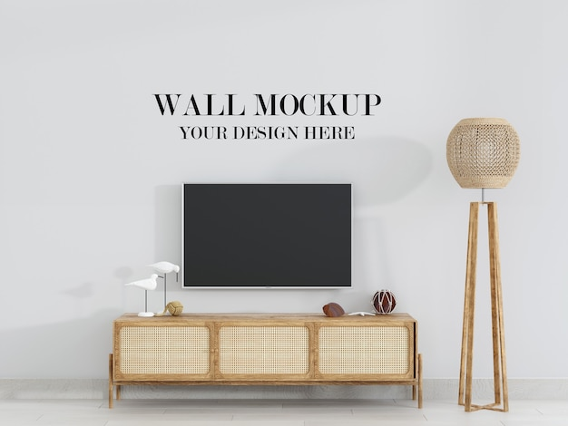 Living room wall mockup with rattan furniture