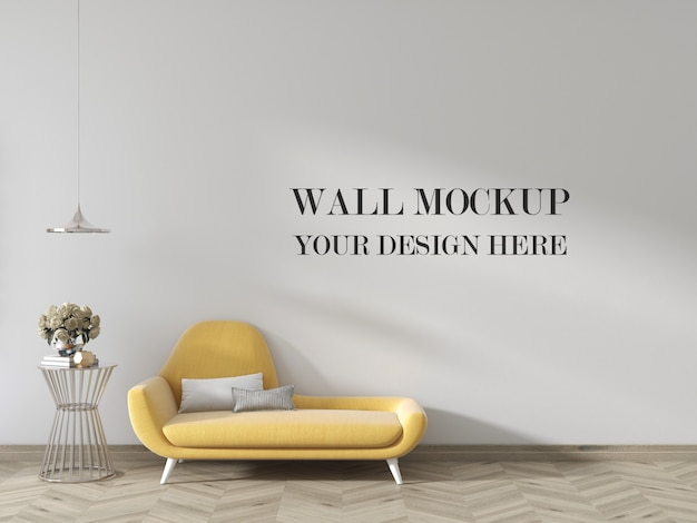 Living room wall mockup with small couch