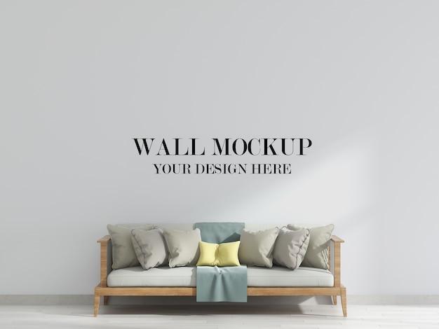 Макет стены гостиной с диваном в интерьере