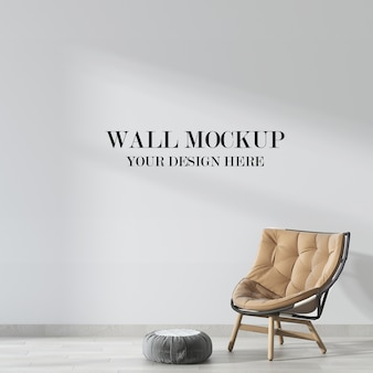 Living room wall mockup with soft chair in interior