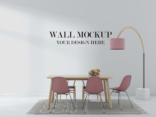 Макет стены гостиной с деревянным столом и розовыми стульями в интерьере