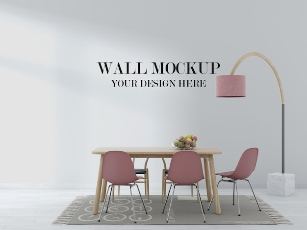 Living room wall mockup with wood table and pink chairs in interior