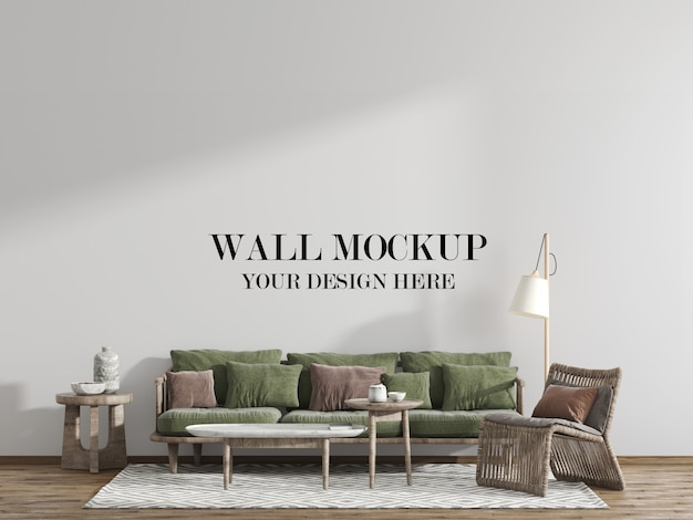 Living room wall mockup with wooden furniture
