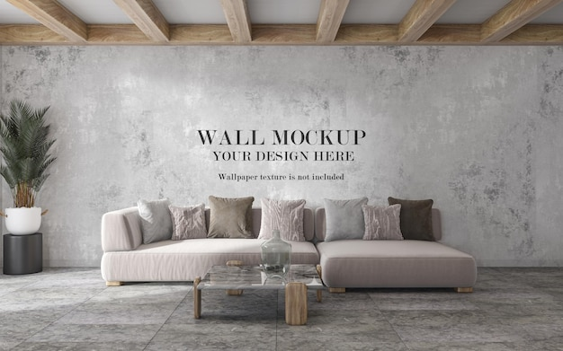Living room wall mockup for your design ideas