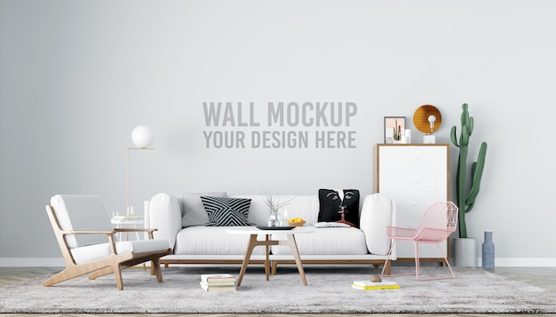 Living room wall mockup