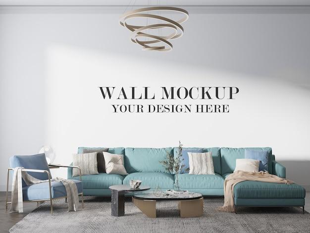 Шаблон стены гостиной за большим диваном