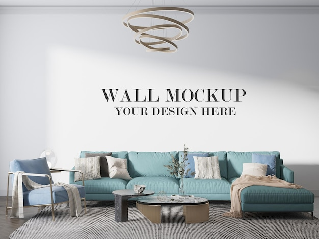 Living room wall template behind large sofa
