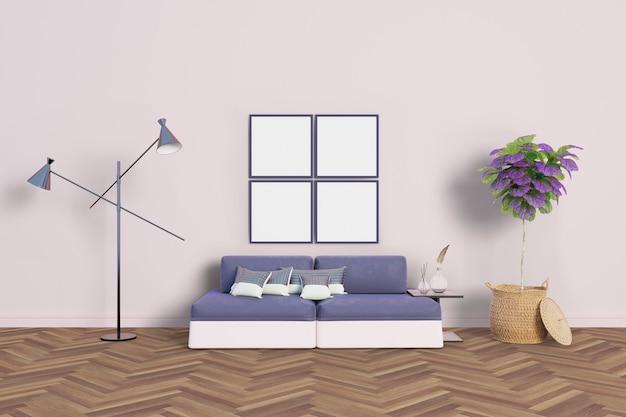 柔らかい色とフレームのあるリビングルーム