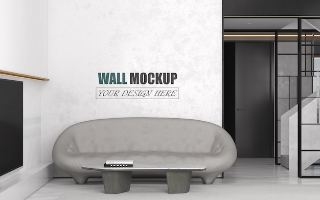 Гостиная с макетом стены в черно-белых тонах