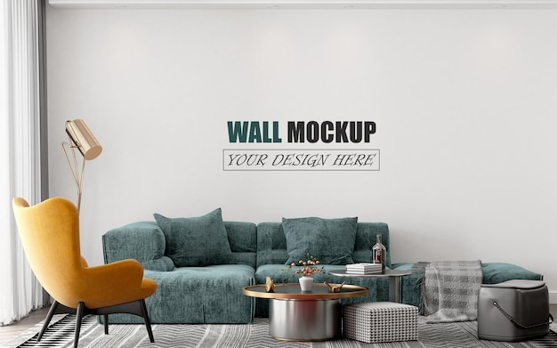 青いソファの壁のモックアップとリビングルーム