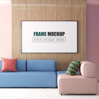 Living room with large picture frame hanging on a wooden wall frame mockup