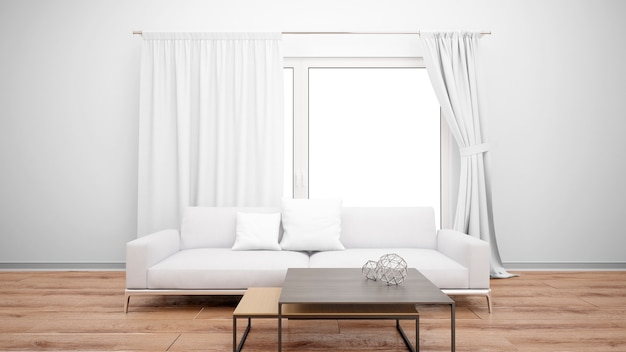 Living room with minimalist couch and large window with white curtains