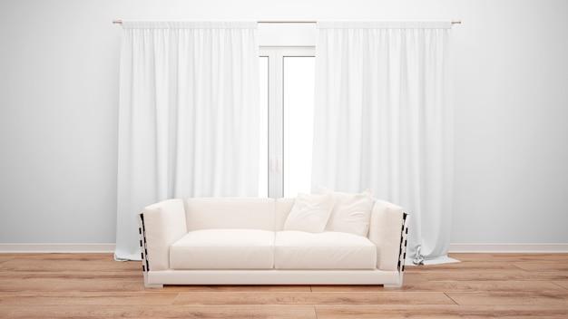 Гостиная с минималистским диваном и большим окном с белыми шторами