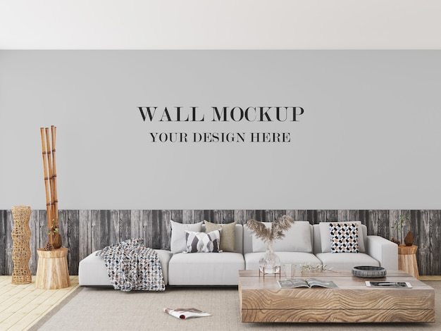 Living room with mixed wood tones wall mockup