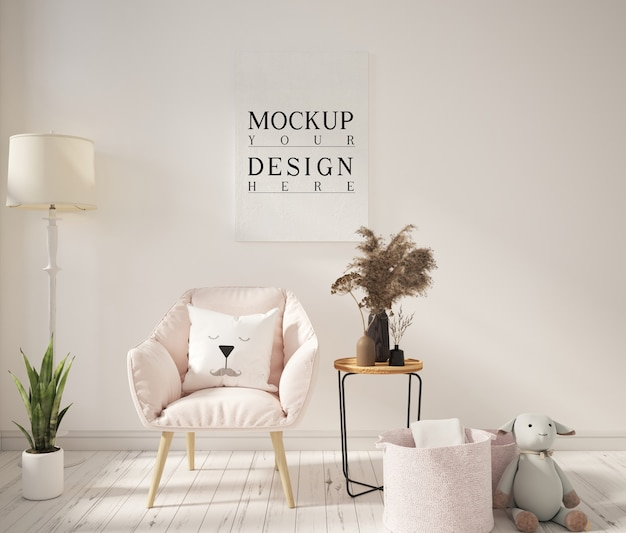 Living room with mockup poster and armchairs