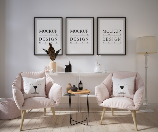 Living room with mockup poster frame and armchairs