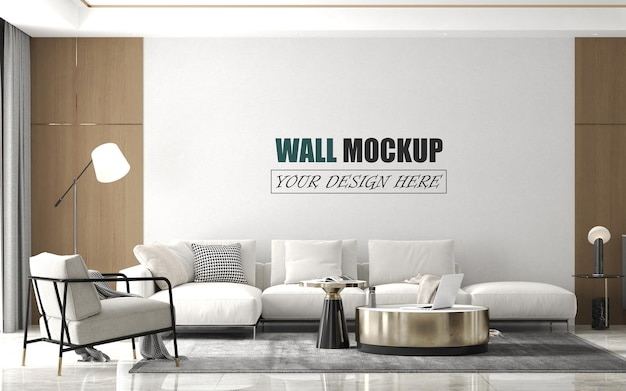 Living room with modern design style wall mockup
