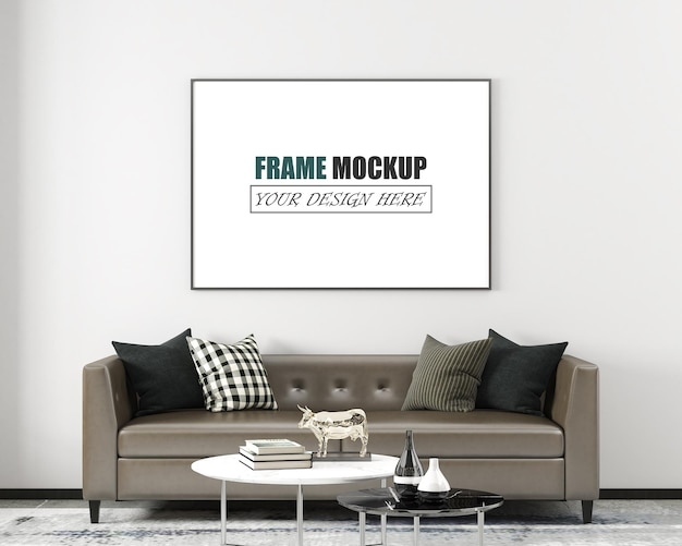 Living room with modern furniture frame mockup