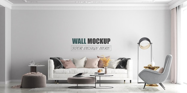 Living room with modern lines wall mockup