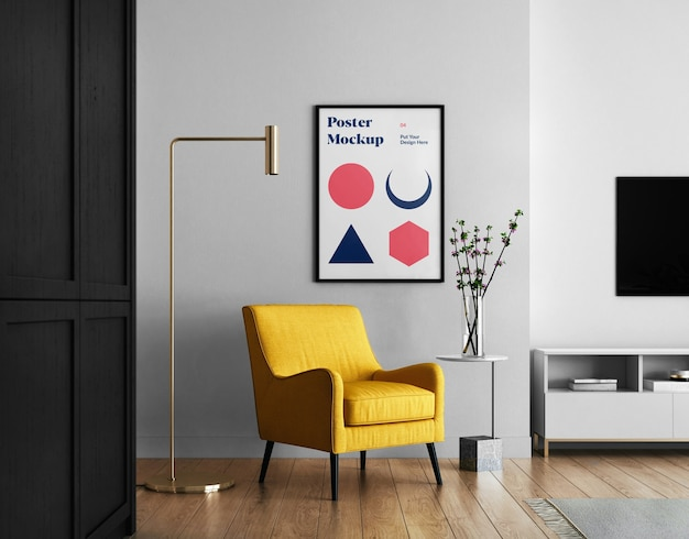 Living room with poster mockup