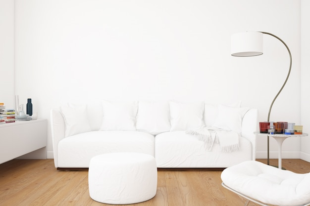 Living room with sofa mockup and decoration elements
