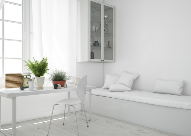 テーブルとソファのモックアップ付きのリビングルーム