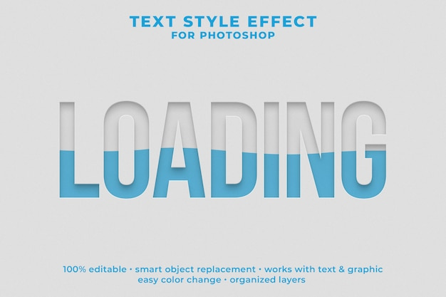Loading 3d text style effect psd template