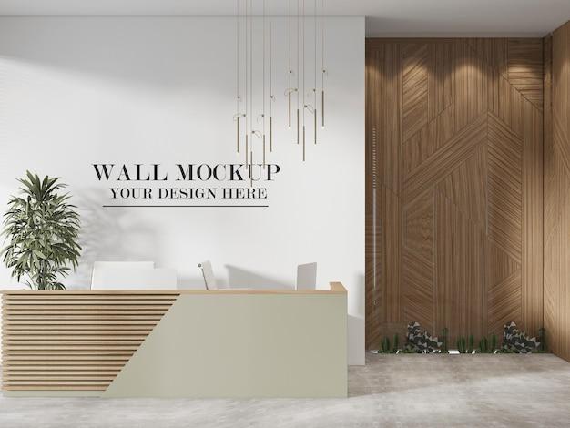 Lobby wall mockup in 3d rendering