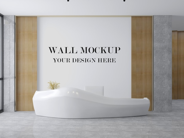 Lobby wall mockup with futuristic reception desk