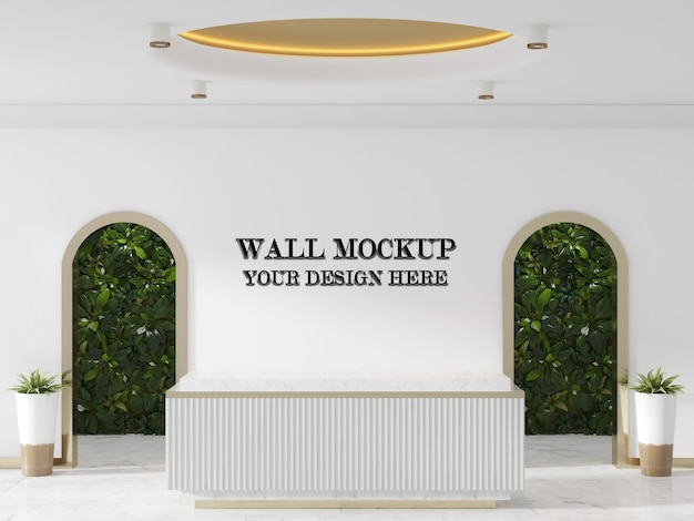 Lobby wall mockup with modern style reception desk