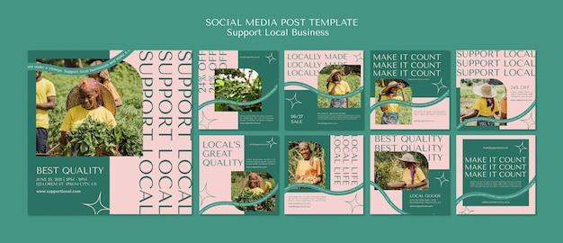 지역 비즈니스 소셜 미디어 게시물 템플릿 프리미엄 PSD 파일