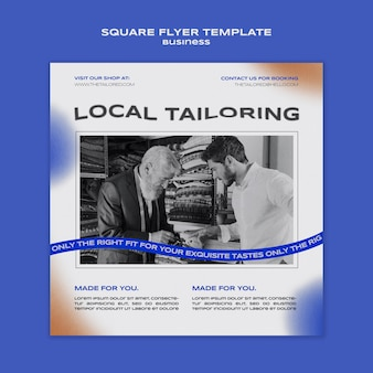 Local tailoring squared flyer template
