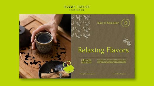 Local tea shop banner design template