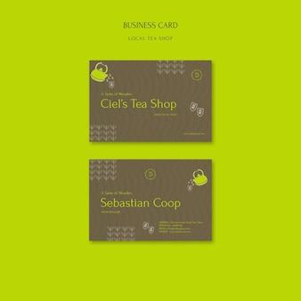 Шаблон дизайна визитной карточки местного чайного магазина