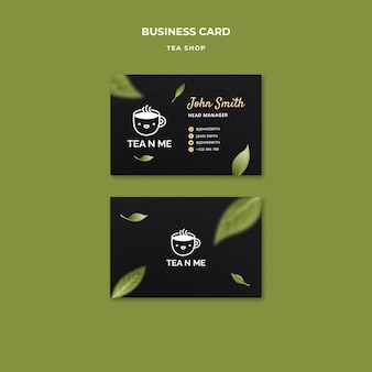 Modello di progettazione del biglietto da visita del negozio di tè locale