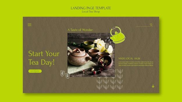 Local tea shop landing page design template